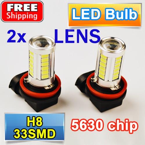 2 PCS H8 33SMD Car Fog Light Super White Auto Headlight 5630 SMD LED Bulbs with LENS 12V 4W highlight h3 12w 600lm 4 smd 7060 led white light car headlamp foglight dc 12v