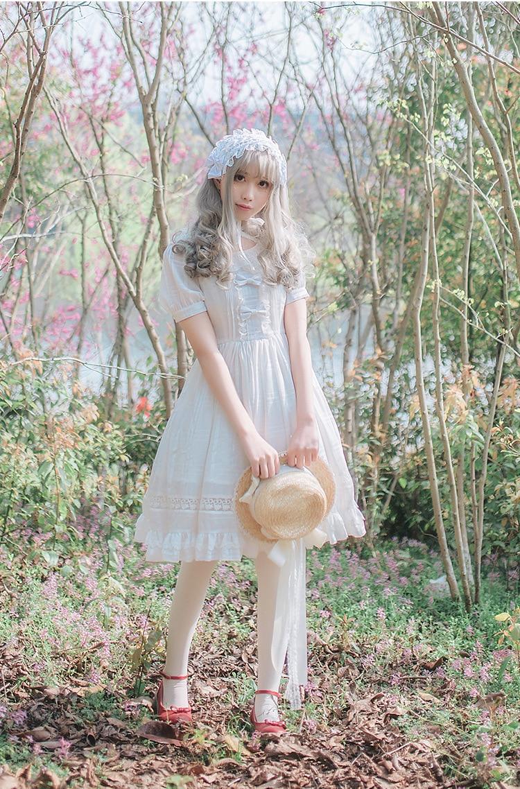 Black Lolita Style Sweet Chiffon Dress Short Sleeve Bow White Chiffon Knee Length Cute Princess Dresses