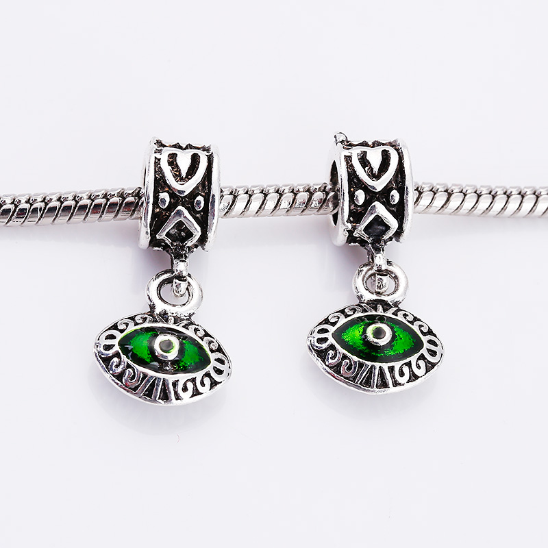 Kupla Vintage Silver Metal Fatima Eye Beads for Pandora Charms Fashion DIY Accessories Evil Eye Charms Beads for Jewelry Making