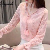 5b503ab4c61 Dingaozlz 2019 новая v-образный вырез Кружевная рубашка женская тонкая с длинным  рукавом женская блузка