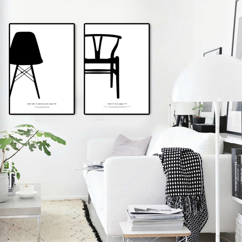 Decoration Items: Modern Nordic Decoration 4 Piece Canvas Art Pictures For