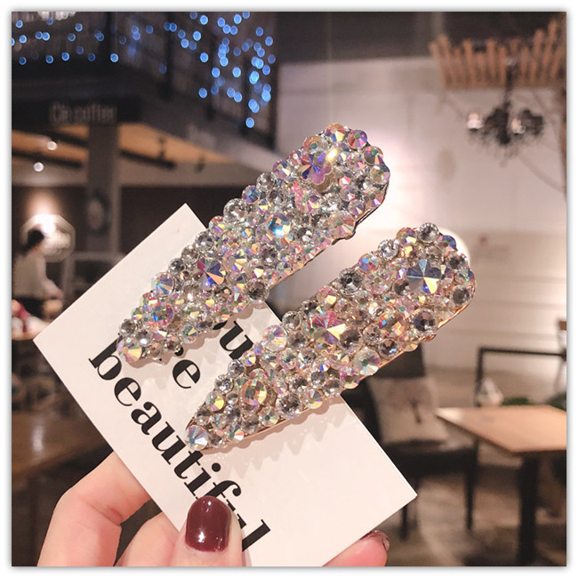 Fashion Metal super flash rhinestone duckbill clip full drill Accessories For Women Girls Hairgrip Hair Clamp Hairclip   Headwear