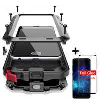 5D courbe pleine colle adhésif + protection de luxe doom armure boîtier en métal couverture antichoc pour Samsung S10 S8 S8Plus S9 S9Plus Note 8