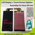 1 unids negro de alta calidad 4.6 ''lcd pantalla táctil digitalizador asamblea adhesivo para sony xperia z5 compact mini e5803 e5823