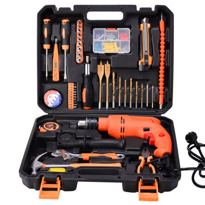 Instrument Sets 44PCS Hole Opener Household Electric Drill Tool Set With Toolbox Wrench Knife Screwdriver Hammer new 50mm wall hole saw drill bit set 200mm connecting rod with wrench mayitr for concrete cement stone