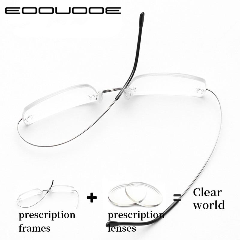Titanium Prescription Glasses Rimless Men Fashion Business Eyeglasses Women