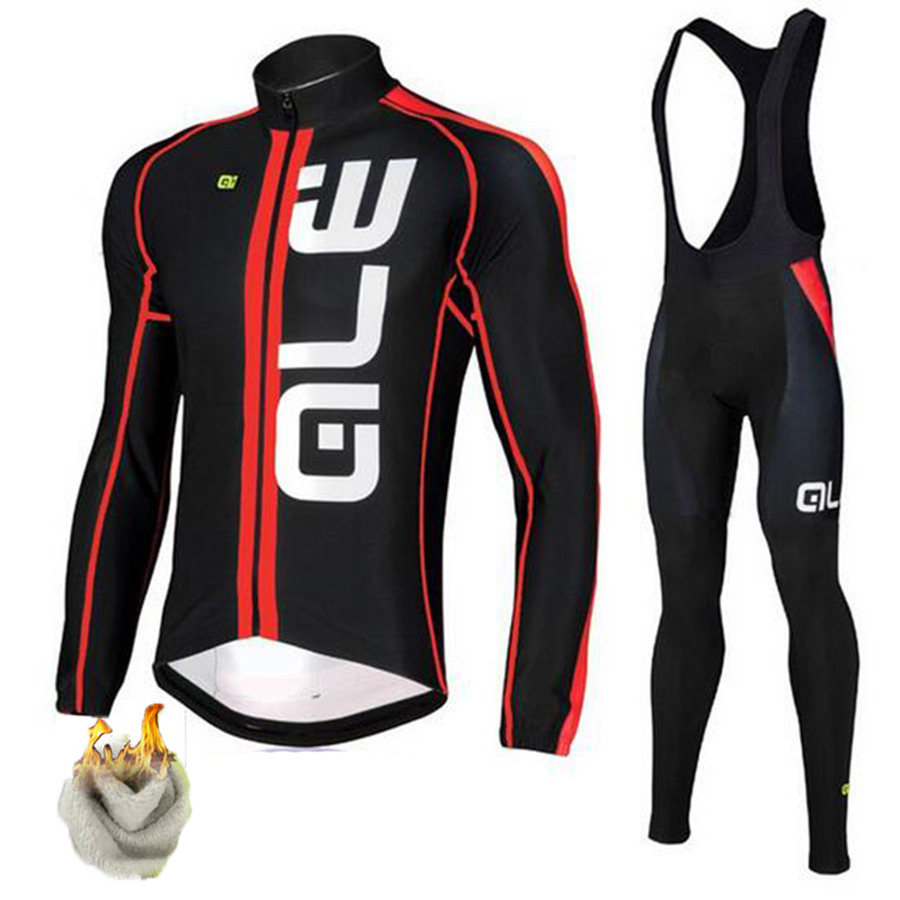 ALE Winter Long Sleeve Cycling Jersey Set Thermal Fleece Warm Cycling Clothing 9D Gel Pad Pro Team MTB Bicycle Bike Jersey Suit