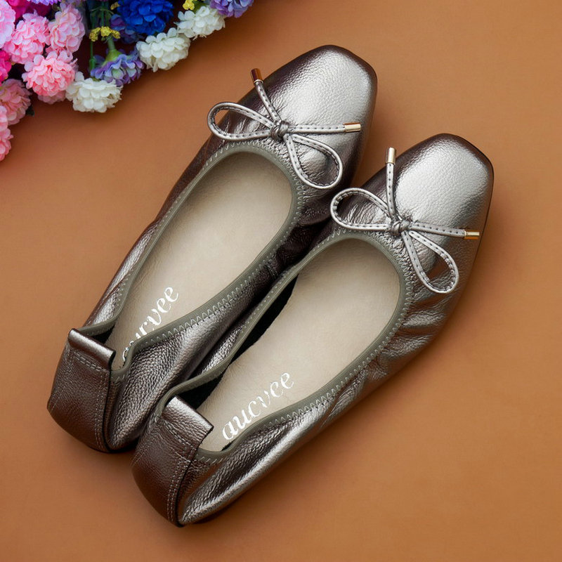 Genuine Leather Single Shoes Flat Shoes Square Head Flat Heel Bow Shallow Mouth Soft Bottom Women