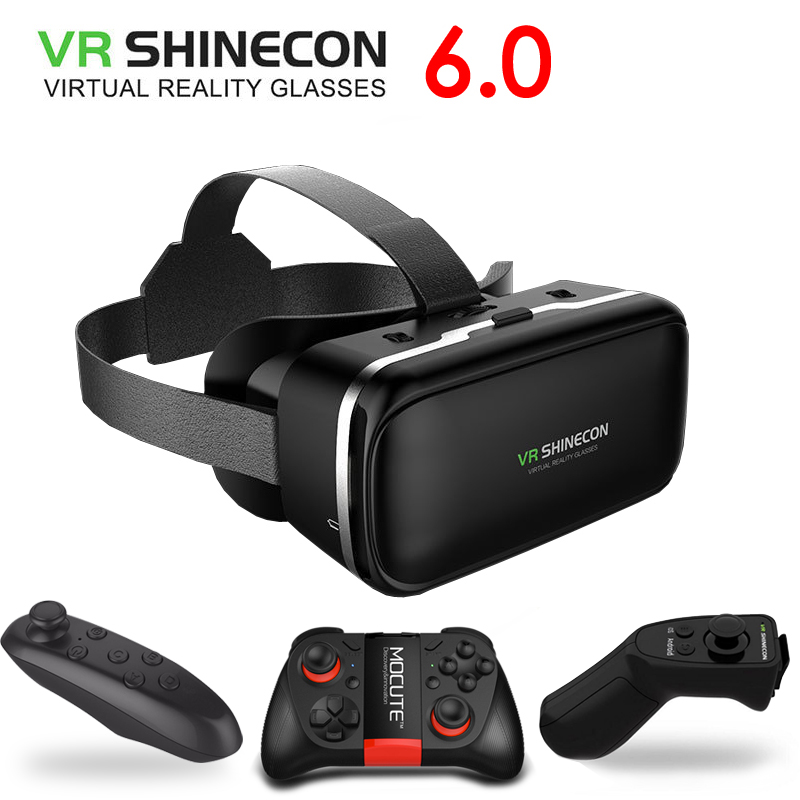 Original VR Shinecon 6.0 Virtual Reality 3D Glasses Cardboard VRBOX Helmet For 4.3-6.0 inch Smartphone With Wireless Controller