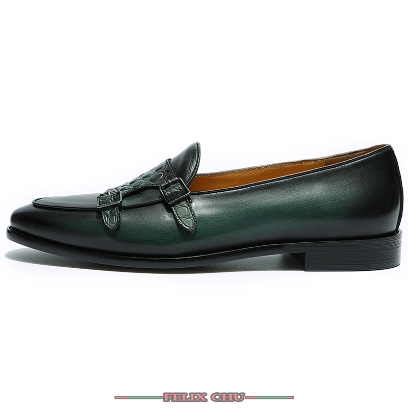 LUXURY LEATHER MEN SHOES SPRING AUTUMN LOAFER DOUBLE MONK STRAP CASUAL DRESS WEDDING SHOES PARTY BANQUET GREEN LOAFER SHOES MEN in Formal Shoes from Shoes