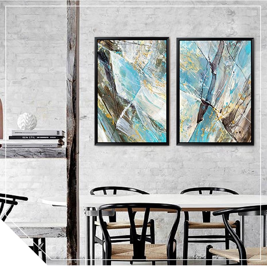 Captivant 3 83 44 De Réduction Abstrait Bleu Couleur Toile Peinture Vintage Affiche  Imprimer Nordique Pop Mur Art Photos Pour Bureau Salon Décor à La