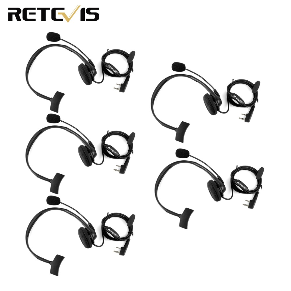 5pcs 2 Pin Headphone Headset Mic TK220 For KENWOOD Baofeng UV-5R BF-888S Retevis H777 PUXING Walkie Talkie C9009A