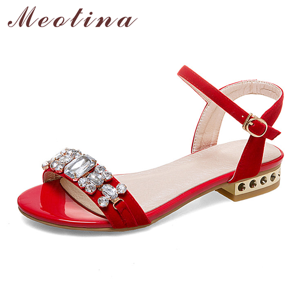 Meotina Women Sandals Summer 2018 Rhinestones Low Heel Sandals Chunky Heels Crystal Ladies Party Shoes Red Gold Plus Size 42 43 meotina shoes women sandals rhinestone sandals luxury shoes 2018 beading summer sandals chunky low heels gold wedding shoes
