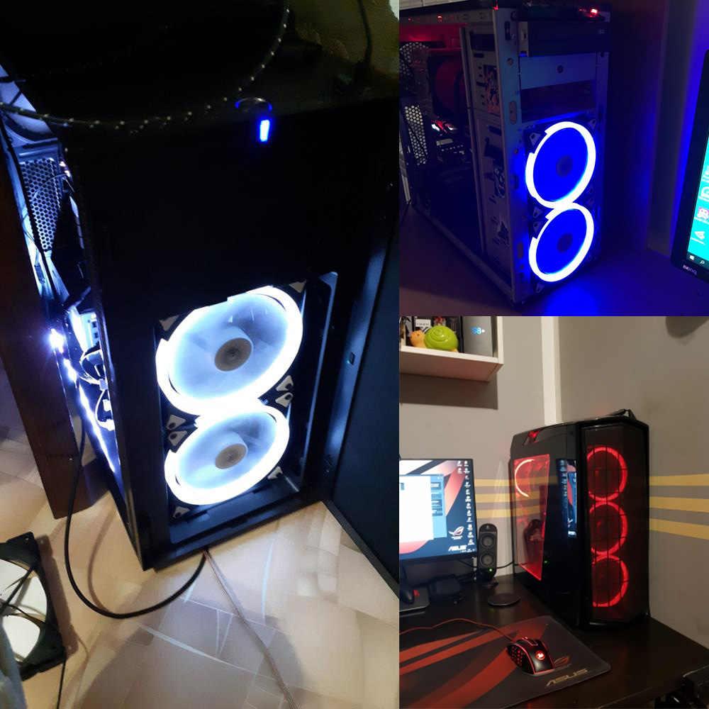 Aigo خاتم على شكل هالة RGB حالة مروحة 140 مللي متر 3pin + 4pin LED حالة مروحة للكمبيوتر حالة وحدة المعالجة المركزية برودة المبرد الصامت كمبيوتر مكتبي مراوح التبريد
