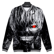 2018 Tokyo Ghoul 3D Jackets Harajuku Style Loose Baseball Uniform Anime Tokyo Ghoul Men and Women Baseball Jackets For Winter