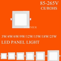 Square Shape downlight SMD2835 ceiling light Warm White Cool White 85-265v 10PS 3W 4W 6W 9W 12W 15W 18W 25W Led Panel Light