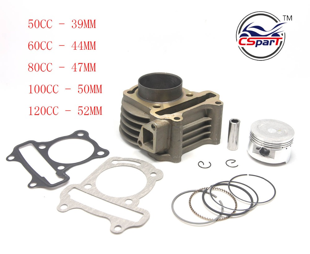 цена на GY6 50CC 60CC 80CC 100CC 120CC 39MM 44MM 47MM 50MM 52MM Cylinder Piston Ring Gasket Kit Taotao Keeway Scooter Parts