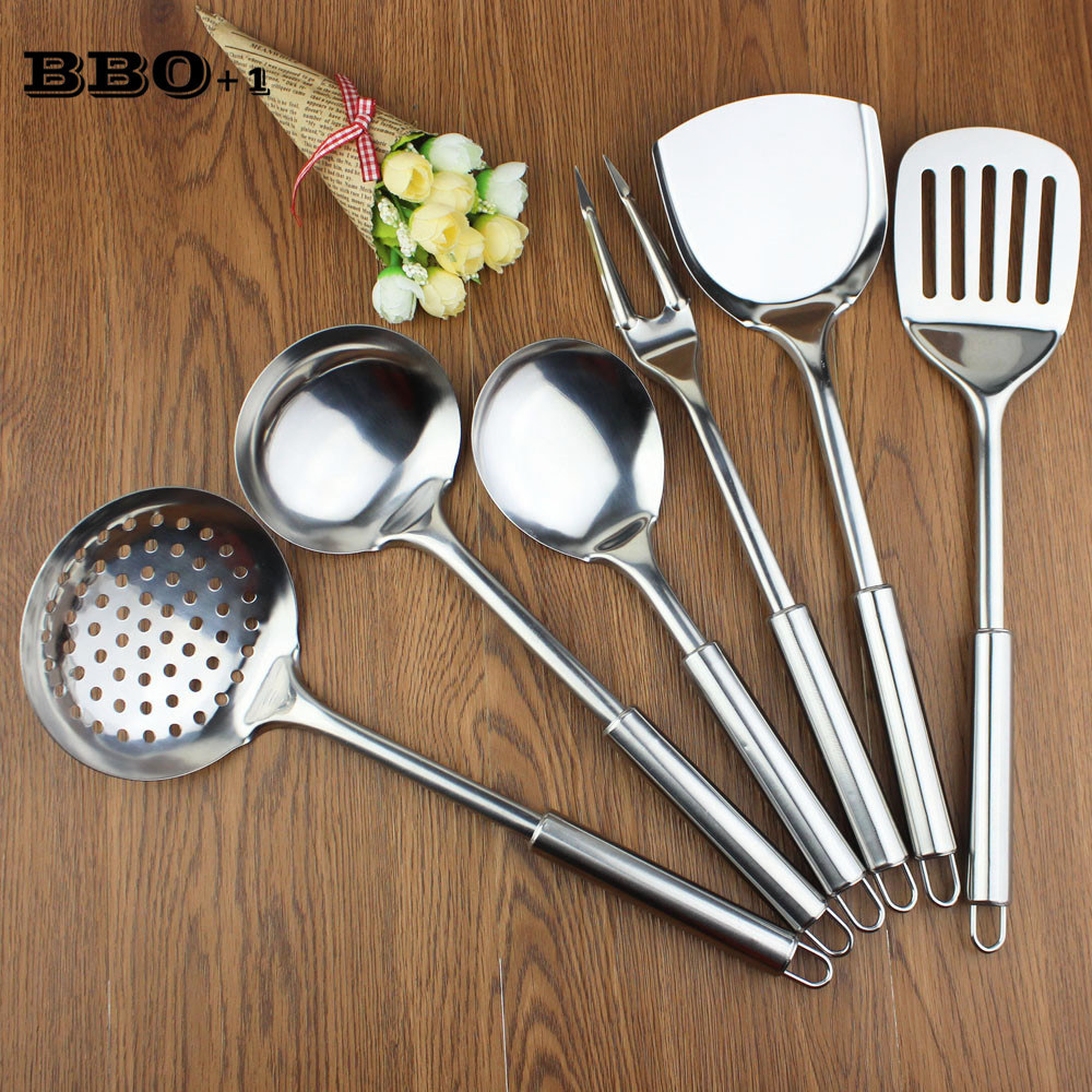 new 6 pcs kitchen utensil set stainless steel kitchen cooking tools upscale kitchenware cook. Black Bedroom Furniture Sets. Home Design Ideas