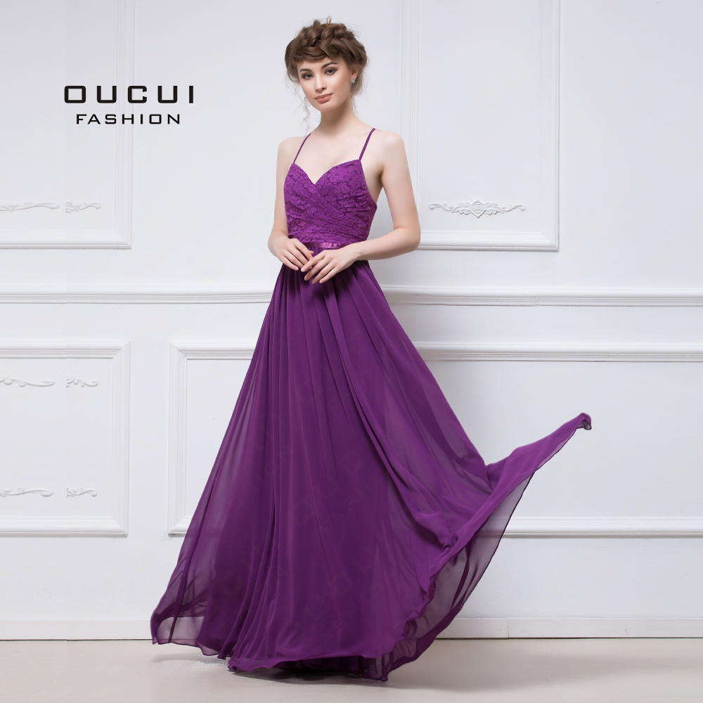 Real Photo Long Lace Bridesmaids Dresses Party 2019 Handmade Purple Spaghetti Straps Elegant Dress For Wedding Guest OL103023