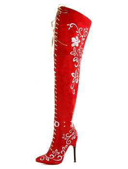 Red Pointed Toe Zipper Micro Suede Modern Woman's Over the Knee Boots