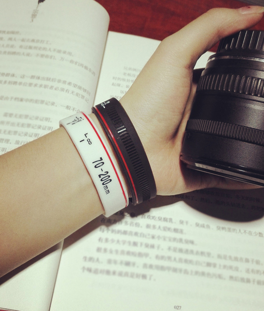 New Camera Lens Bracelets Photographer Silicone Bracelet Wristbands Lens Zoom Creep for canon nikon DSLR Camera 9 types HOT SALE