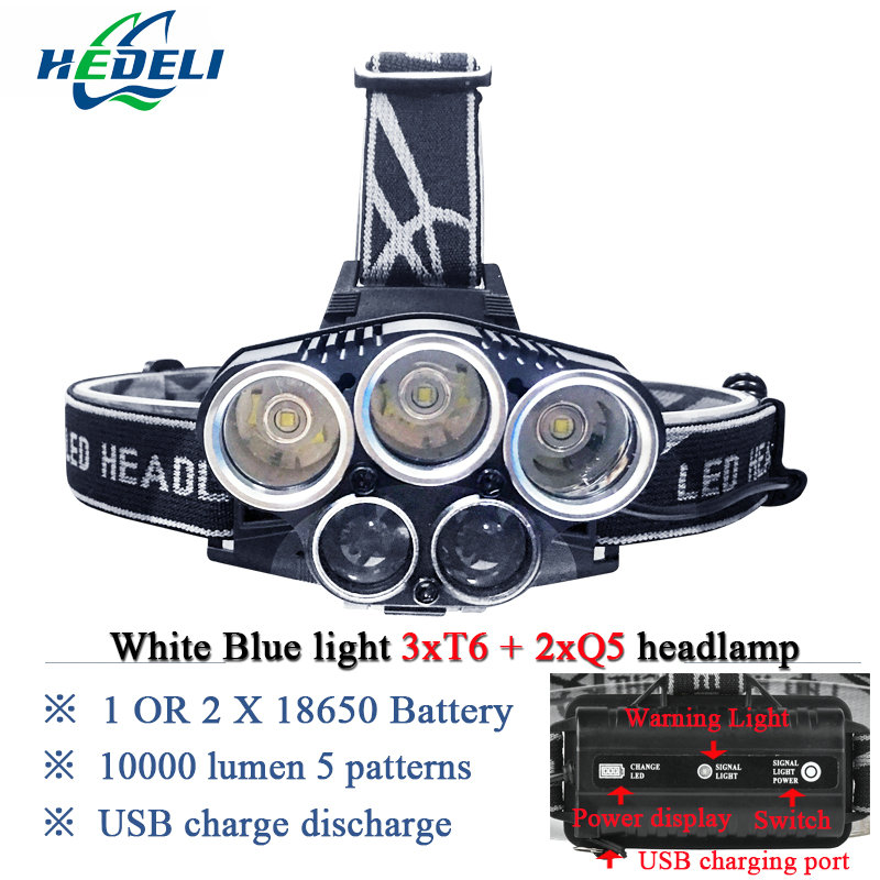 Blue light white Fishing light USB CREE XML T6 XPE Q5 5 LED headlamp led headlight flashlight head torch head lamp rechargeable 6000lumens bike bicycle light cree xml t6 led flashlight torch mount holder warning rear flash light