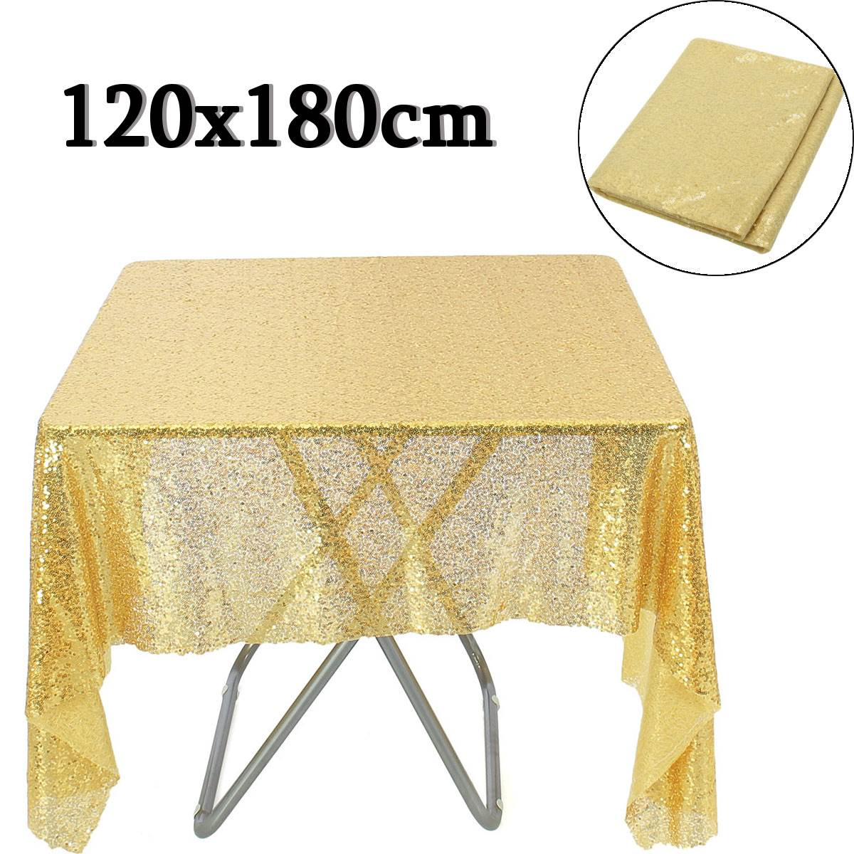96 inch round tablecloth - 120x180cm Wedding Cake Table Cloth Gold Sequin Table Overlay Toalha Round Tablecloth Decoration Sequin Bling