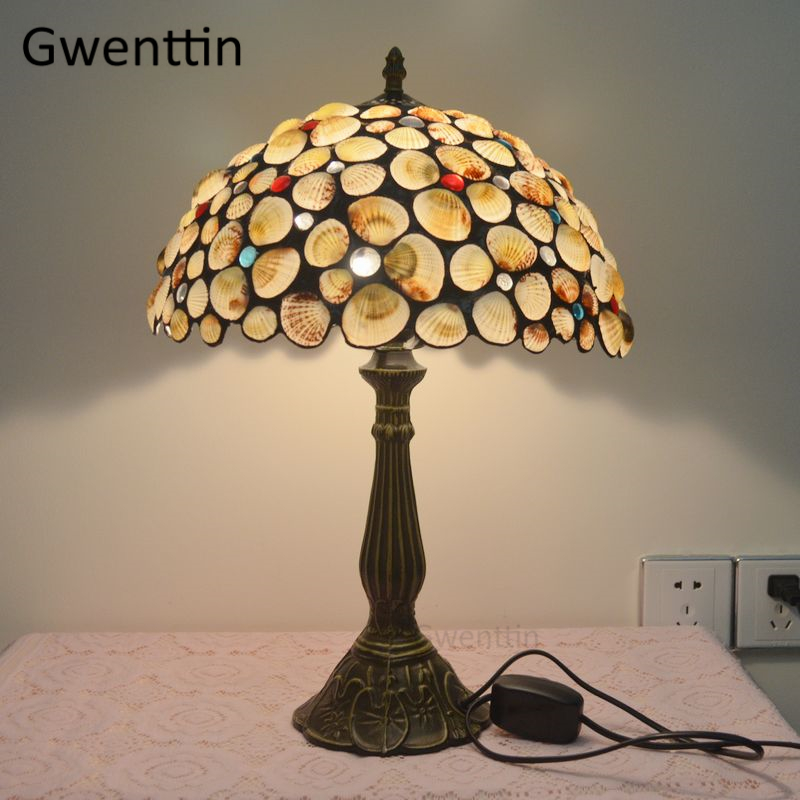 Mediterranean Tiffany Shell Table Lamps for Living Room Bedside Stain Glass Desk Lamp Vintage Led Stand Light Fixtures Art DecoMediterranean Tiffany Shell Table Lamps for Living Room Bedside Stain Glass Desk Lamp Vintage Led Stand Light Fixtures Art Deco