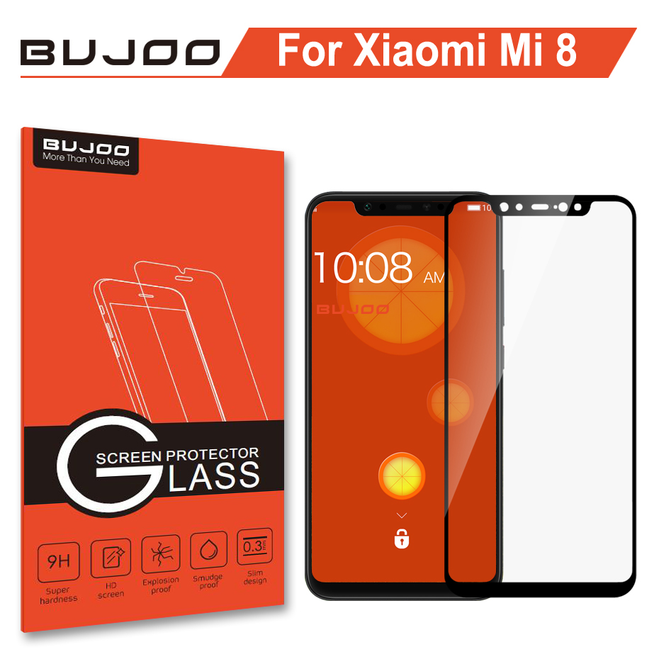 100% Original BUJOO Highly Responsive 2.5D Full Cover Tempered Glass For Xiaomi Mi 8 Xiomi Mi8 9H 0.3mm Screen Protector Film