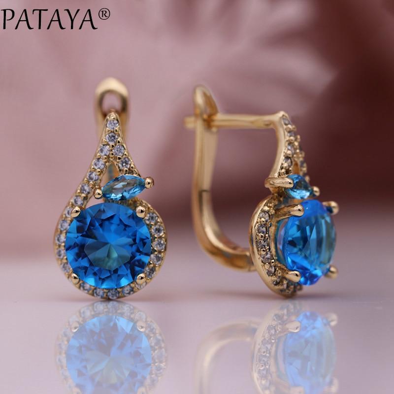 PATAYA новые женские серьги, благородные, конский глаз, 585 розовое золото, Круглый, синий, натуральный Цирконий, для свадьбы, вечеринки, милые, мо...