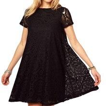 Летнее женское платье большого размера, Европейское и американское платье, свободное с короткими рукавами, выдолбленный калейдоскоп CJNSSYLY00258