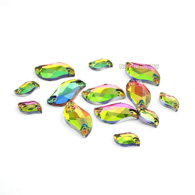 Rainbow Color S Shape Glass Rhinestones Silver Base Naaien Strass Beads, naai op Stenen Spacer-knopen voor kledingstukjuwelen