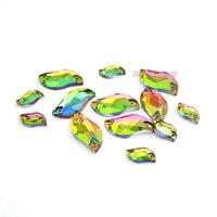 Rainbow Color S Shape Glass Rhinestones Silver Base Sew On Rhinestone Beads Sew On Stones Spacer