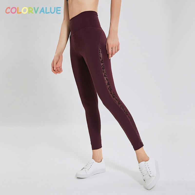 Colorvalue Confortable Nu Toucher Nylon Yoga Sport Leggings Femmes Maille Patchwork Taille Haute Fitness Gym Pantalons Collants Tenues de Sport