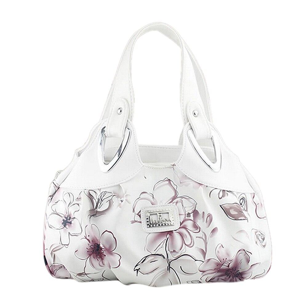 Fashion handbag Women PU leather Bag Tote Bag Printing Handbags Satchel -Ink safflower + white Handstrap сумка 2015 2015 designer handbag satchel women leather handbags