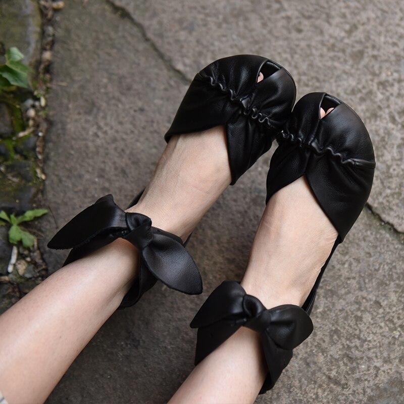 Artmu Fashion Women Shoes Low Heels Handmade Leather shoes woman Zip Open Toe Genuine Leather Sandals