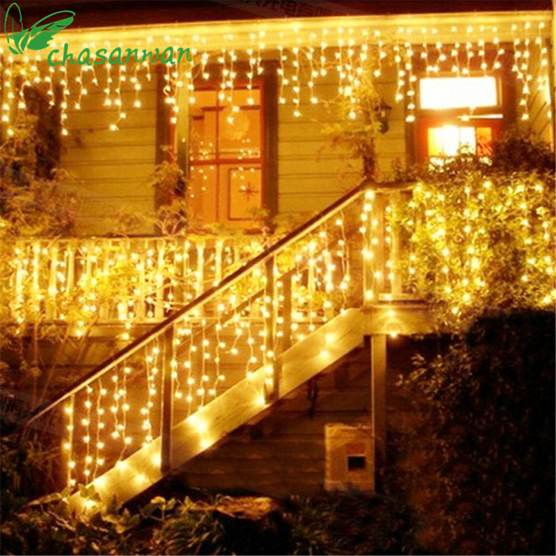 CHASANWAN Christmas Tree LED Light Ornament 10m 100LED Multicolor Icicle Curtain Party Wedding Decoration Lights For Home 2017,Q