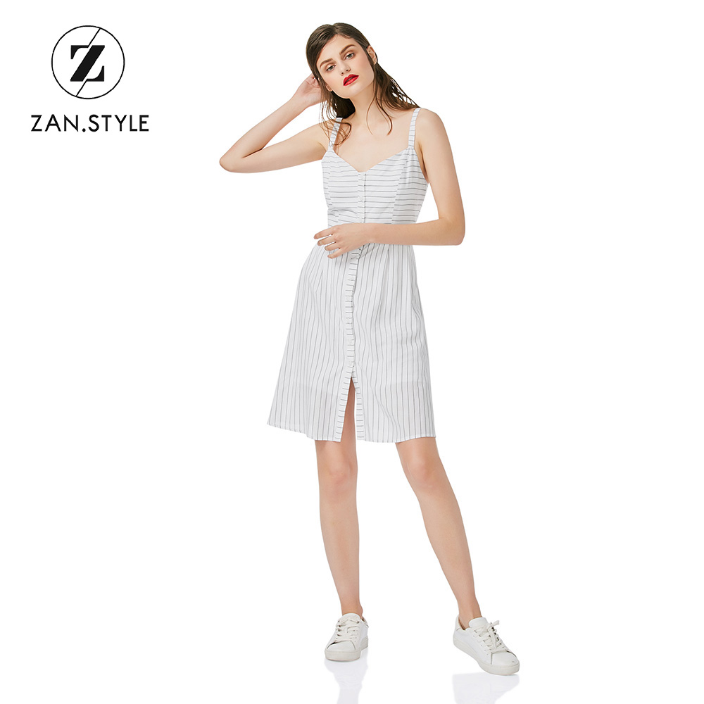 ZAN.STYLE Summer Women V Neck Strap Striped Dresses Casual Button Halter Sleeveless Knee Length A Line Dress White Vestidos XS-L