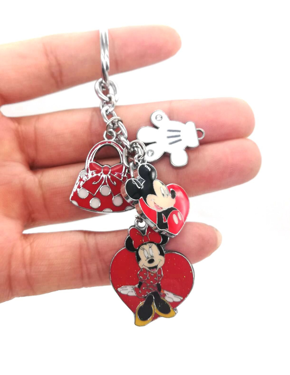 New 1 Set  Cartoon Mickey Minnie Hand Bag  Keychain  Jewelry Accessories  Key Chains  Pendant  Gifts  Favors LK-52