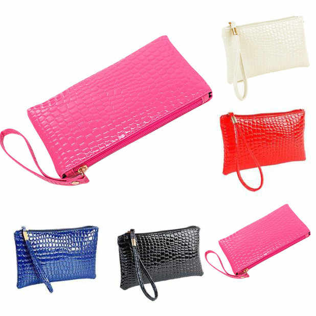 Mulheres de Couro de Crocodilo Bolsa Bolsa Da Moeda Saco de Embreagem multi-função de couro coin purse moda zipper carteira