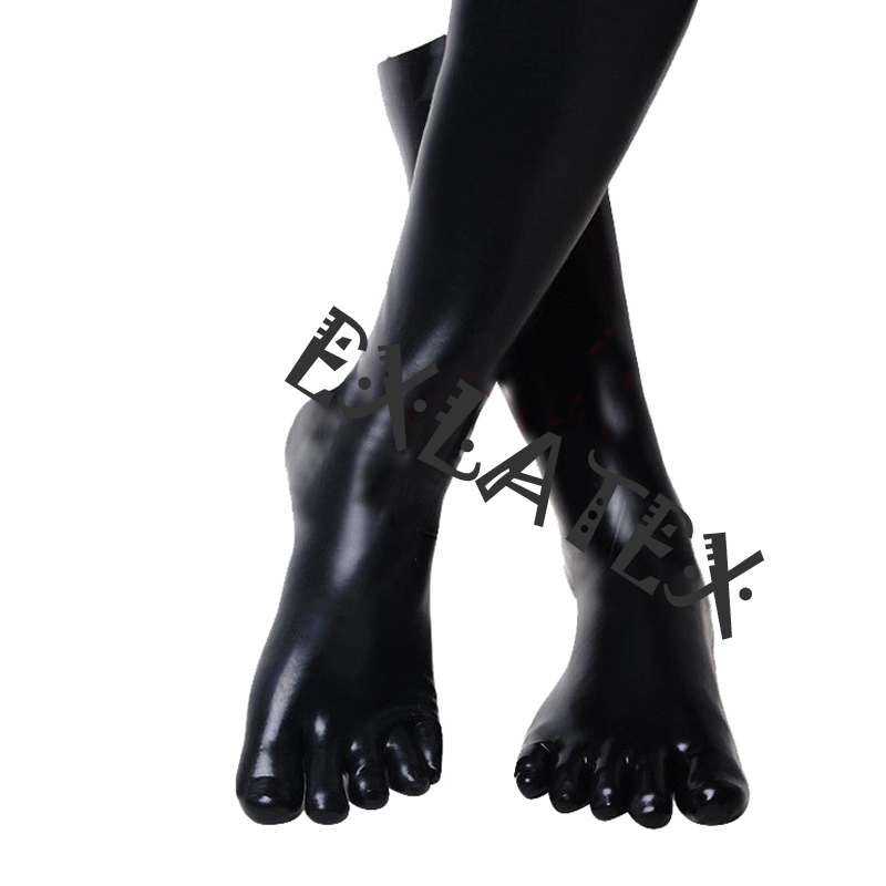 Raw Rubber Moulded Latex Stockings With Open Feet in Black