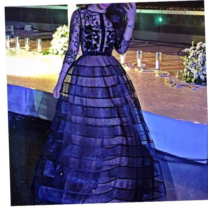 Custom made Organza Lace and Beading Long sleeve Ball gown Abaya in dubai ress Party   evening   elegant Long   evening     dress