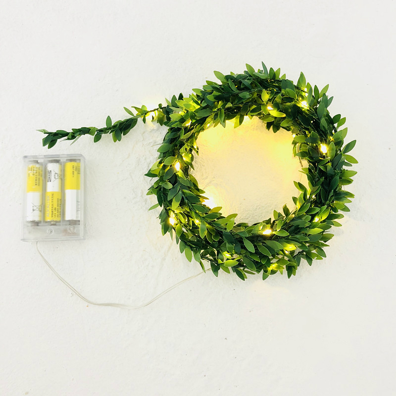 Micro String Light LED Battery Operated 2M 20 Christmas Lights Indoor Green Leaf Strands Wedding Xmas Bedroom Navidad Decoration