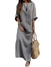 Yfashion Women Simple Casual Linen Loose Dress Elegant All-match Pocket Long