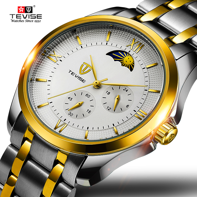 Tevise Business Mechanical Watches Mens Skeleton Moon Phase Automatic Watch Men Gold Steel Calendar Waterproof Relojes Hombre tevise fashion moon phase automatic self wind watches stainless steel luxury gold black watch men mechanical t629b with tool