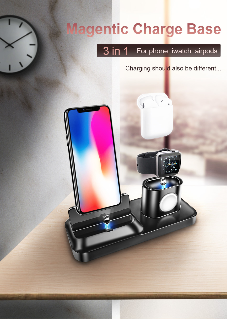 !ACCEZZ 3 in 1 Wireless Charging Holder Stand Magnetic Phone Charger For AirPods Apple i Watch For Xiaomi Desk Charge Stand Dock (1)