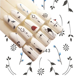 Image 5 - Full Beauty 1 Sheet Nail Water Sticker DIY Black Abstract Image Nail Art Paper Decoration Manicure Style Tool CHSTZ651 53