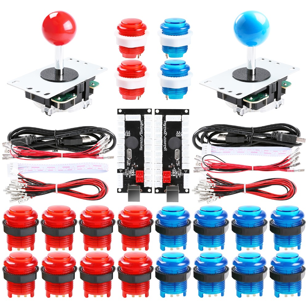 2-Player DIY Arcade Joystick Kits With 20 LED Arcade Buttons + 2 Joysticks + 2 USB Encoder Kit + Cables Arcade Game Parts Set
