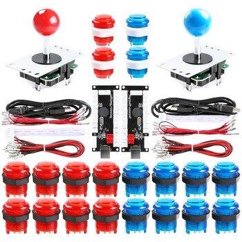 Kits de Joystick d'arcade bricolage 2 joueurs avec 20 boutons d'arcade LED  2 Joysticks  2 Kit d'encodeur USB  jeu de pièces de jeu d'arcade