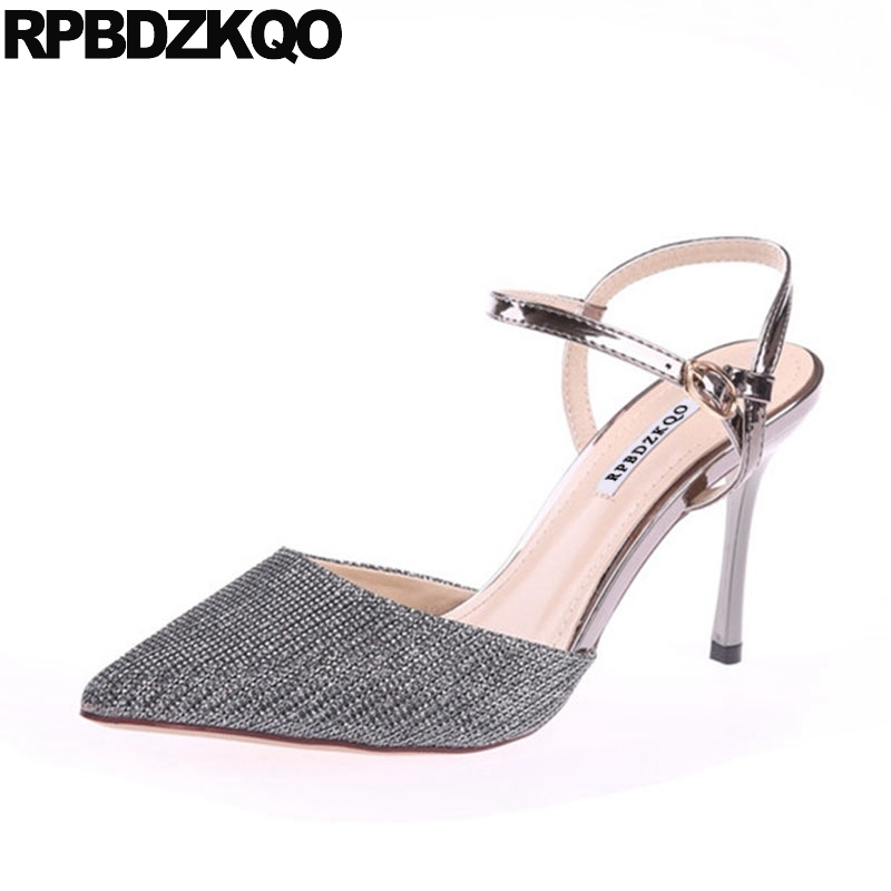 Slingback Silver High Heels Sandals Metallic Pointed Toe Ankle Strap Glitter Size 4 34 Women Bling Stiletto Shoes Pumps Bride women office shoes solid color fashion pointed toe stiletto high heels elastic band ankle strap slingback sandals pumps leather